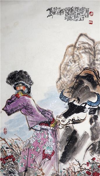 杜显清 岷山风雪图